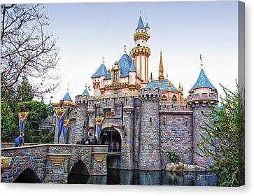 Monorail Canvas Print - Sleeping Beauty Castle Disneyland Side View by Thomas Woolworth