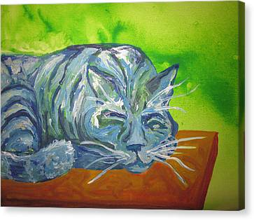 Canvas Print - Sleeping Blue Cat by Cherie Sexsmith