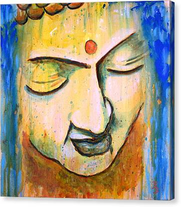 Canvas Print featuring the painting Sleeping Buddha Head by Bob Baker