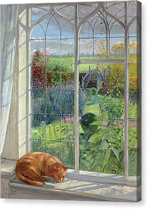 Sleeping Cat And Chinese Bridge Oil On Canvas Canvas Print by Timothy Easton