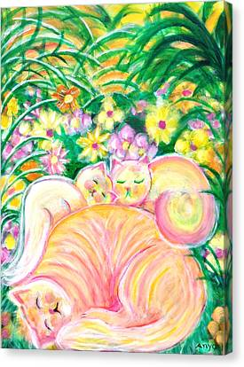 Canvas Print featuring the painting Sleeping Cats by Anya Heller