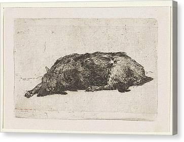 Sleeping Dog, Jan Weissenbruch Canvas Print by Jan Weissenbruch
