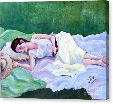 Sleeping Girl Canvas Print by Janet Felts