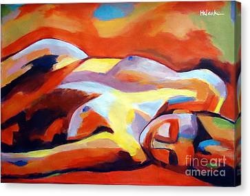 Canvas Print featuring the painting Sleeping Lady by Helena Wierzbicki