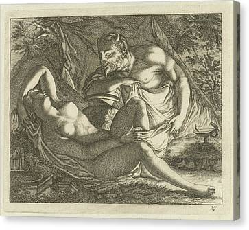 Sleeping Nymph Watched By A Satyr, Arnold Houbraken Canvas Print