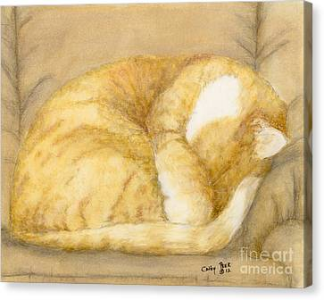 Sleeping Orange Tabby Cat Feline Animal Art Pets Canvas Print by Cathy Peek