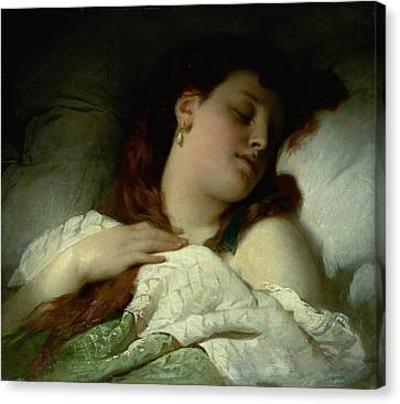 Long Bed Canvas Print - Sleeping Woman by Sandor Liezen-Meyer