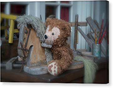 Canvas Print featuring the photograph Sleepy Cowboy Bear by Thomas Woolworth