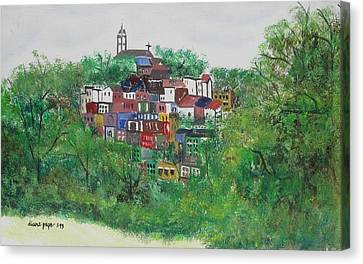 Canvas Print featuring the painting Sleepy Little Village by Diane Pape
