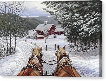 Winter Roads Canvas Print - Sleigh Bells by Richard De Wolfe