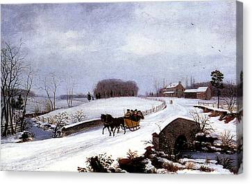 Sleigh In Winter Canvas Print by Thomas Birch