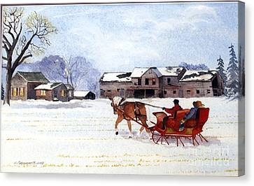 Canvas Print featuring the painting Sleigh Ride by Susan Crossman Buscho