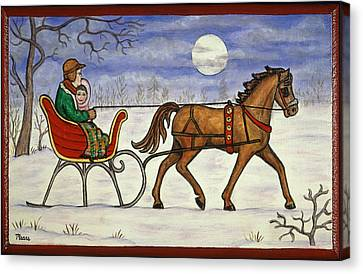 Christmas Canvas Print - Sleigh Ride With Grandpa by Linda Mears