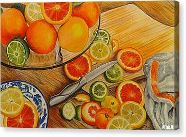 Slice Of A Citrus Canvas Print by Aftab M