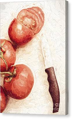 Sliced Tomatoes. Vintage Cooking Artwork Canvas Print by Jorgo Photography - Wall Art Gallery