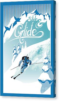 Slide And Glide Retro Ski Poster Canvas Print