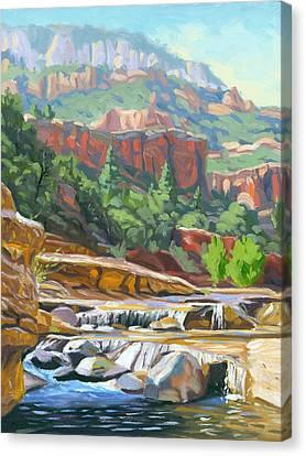 Oak Creek Canvas Print - Slide Rock by Steve Simon