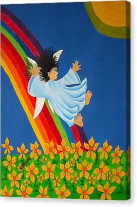 Sliding Down Rainbow Canvas Print by Pamela Allegretto
