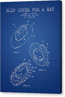 Slip Cover For A A Hat Patent From 1997 - Blueprint Canvas Print by Aged Pixel