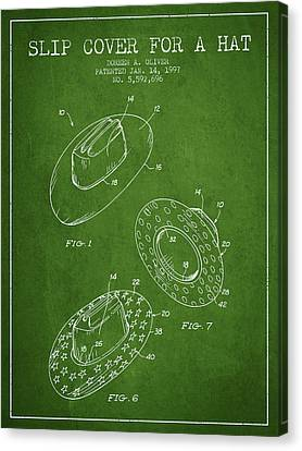 Slip Cover For A A Hat Patent From 1997 - Green Canvas Print by Aged Pixel
