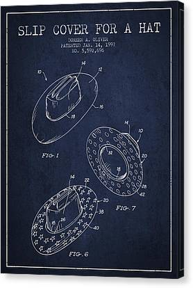 Slip Cover For A A Hat Patent From 1997 - Navy Blue Canvas Print by Aged Pixel