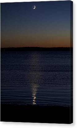 Sliver - A Crescent Moon On The Lake Canvas Print