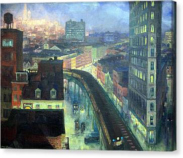 Sloan's The City From Greenwich Village Canvas Print by Cora Wandel