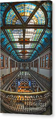 Slocum Hall Romanesque Arcade And Stained-glass Skylight Ohio Wesleyan University Canvas Print by Brian Mollenkopf
