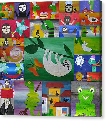 Sloth And More Friends- Recycled Paper Canvas Print