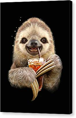 Sloth And Soft Drink Canvas Print