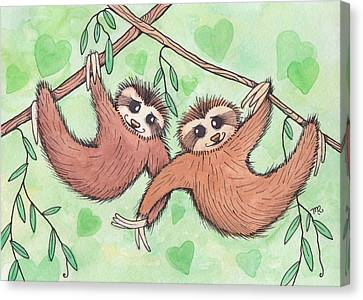 Sloth Canvas Print - Sloth Valentines by Melissa Rohr Gindling