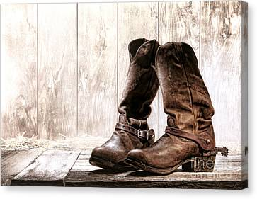 Slouch Cowboy Boots Canvas Print by Olivier Le Queinec