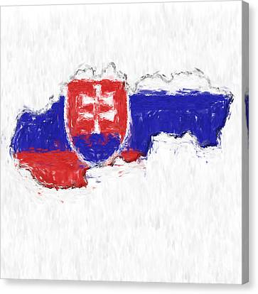 Slovakia Painted Flag Map Canvas Print by Antony McAulay