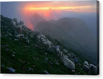 Canvas Print featuring the photograph Slovenian Sunset by Graham Hawcroft pixsellpix