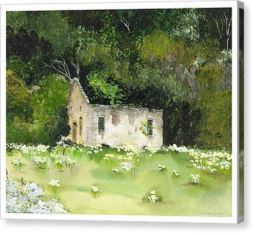 Canvas Print featuring the painting Slowly Going Down by Susan Crossman Buscho