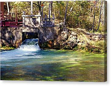 Sluice Gate At Alley Spring Canvas Print by Marty Koch