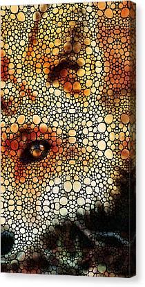 Sly Fox - Mosaic Art By Sharon Cummings Canvas Print