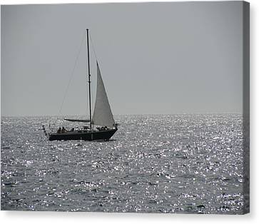 Small Boat At Sea Canvas Print