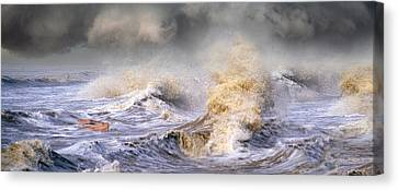 Small Boat In Storm Canvas Print by Panoramic Images