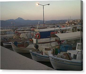 small boats at sunset in Corinthos         Canvas Print