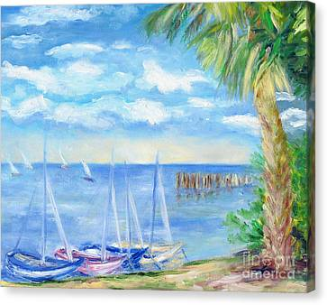 Small Boats On Water Canvas Print by Barbara Anna Knauf