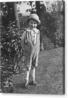 Small Boy Poses In Yard Canvas Print