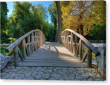 Lake Canvas Print - Small Bridge by George Atsametakis