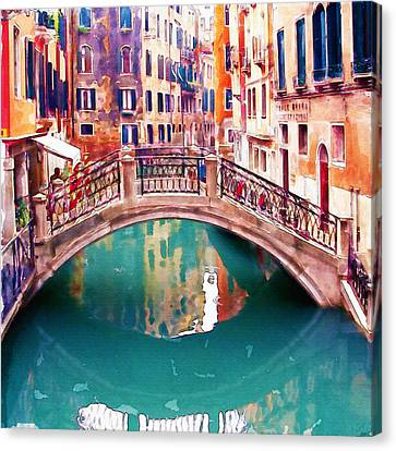 Small Bridge In Venice Canvas Print by Marian Voicu