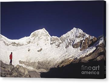 Small Climber Big Peaks Canvas Print by James Brunker