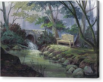 Canvas Print featuring the painting Small Falls Descanso by Michael Humphries