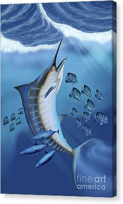 Small Fish Scatter As A Huge Blue Canvas Print