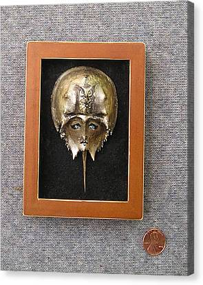 Small Horseshoe Crab Mask Canvas Print by Roger Swezey