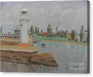 Small Lighthouse At Wollongong Harbour Canvas Print