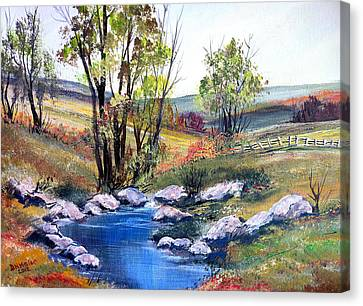 Canvas Print featuring the painting Small Pond by Dorothy Maier